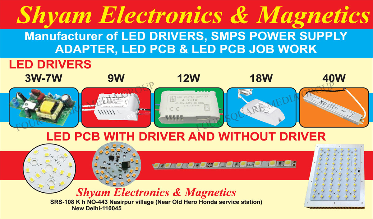Led Drivers, SMPS Power Supply Adapters, Switch Mode Power Supply Adapters, Led Printed Circuit Board, Led PCB, Led Printed Circuit Board Job Works, Led PCB Job Works, Led PCB With Driver, Led Printed Circuit Board With Driver