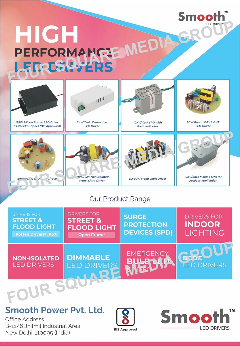 Led Drivers, Street Light Drivers, Flood Light Drivers, Surge Protection Devices, SPD, Indoor Light Drivers, Non Isolated Led Drivers, Dimmable Led Drivers, Emergency Bulb Led Drivers, DCDC Led Drivers, Panel Light Drivers, Led Bulb Circuits, Bay Light Drivers