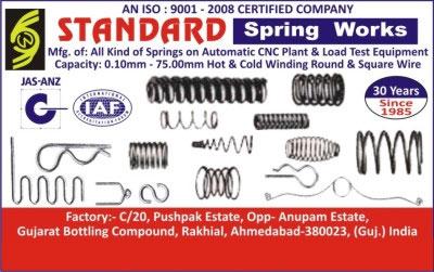 Springs,Load Test Equipments, Winding Equipments, Cold Winding Square Wire, Hot Winding Square Wire