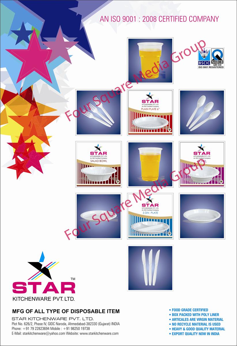 Disposable Items, Disposable Plates, Disposable Salad Bowls, Disposable Bowls, Disposable Glasses, Disposable Spoons, Disposable Forks, Disposable Knives