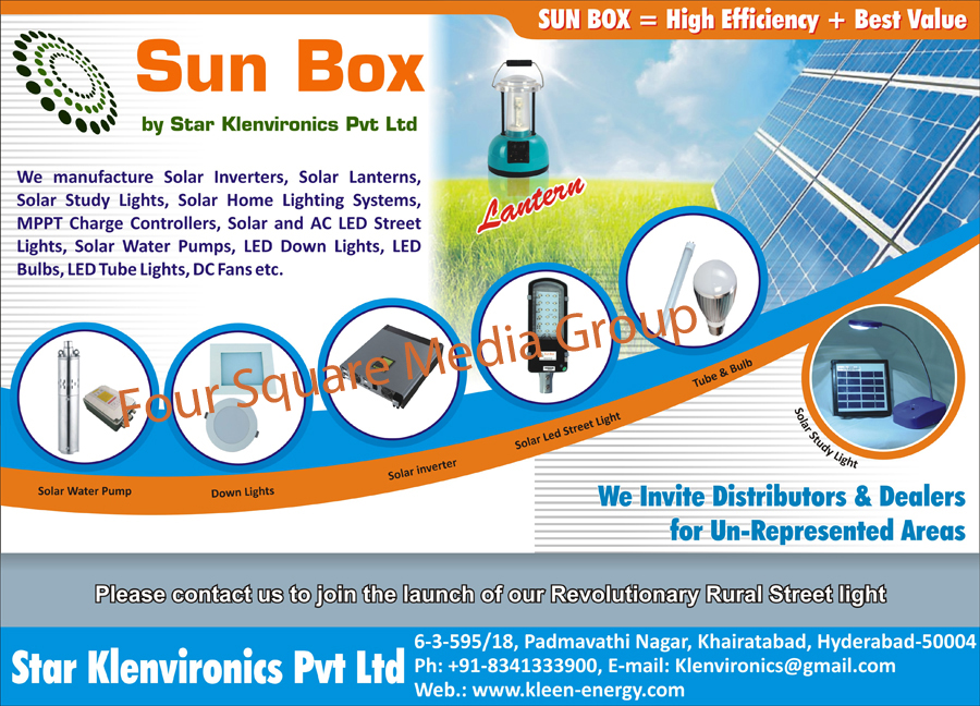 Solar Inverters, Solar Lanterns, Solar Study Lights, Solar Home Lights, Mppt Charge Controllers, Solar Street Lights, Led Street Lights, Led Lights, Solar Water Pumps, Led Down Lights, LED Bulbs, Led Tube Lights, Dc Fans