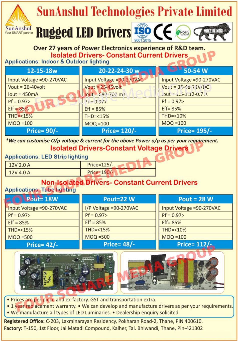 Led Drivers, Isolated Drivers, Constant Current Drivers, Constant Voltage Drivers, Non Isolated Drivers