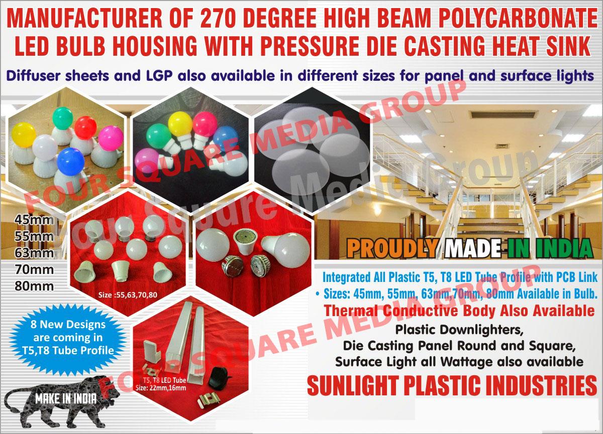 Led Light Housings | Led Bulb Housings | Panel Light Diffuser Sheets