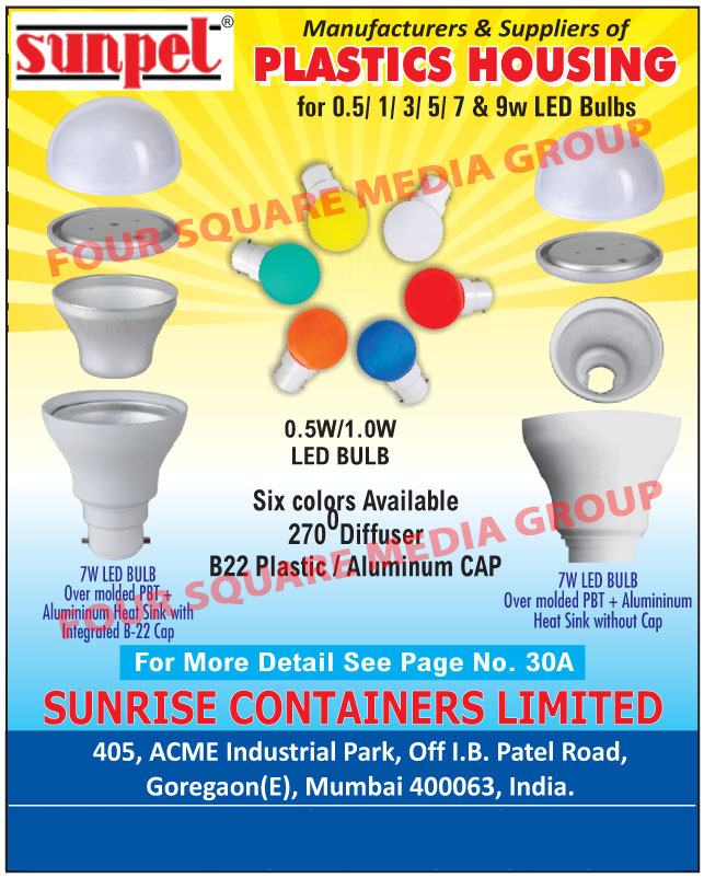 Plastic Led Bulb Housings, Over Moulded PBT and AL Heat Sinks, 180 Degree PC Diffusers, Integrated B22 Caps, 270 Degree Diffusers