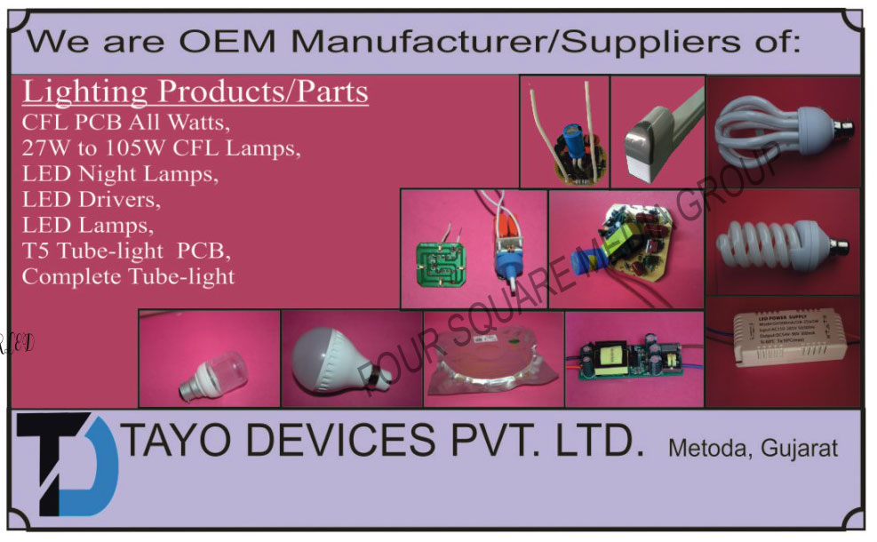 Light Products, Light Parts, CFl Printed Circuit Boards, Led Night Lamps, Led Drivers, Led Lamps, Tube Light Printed Circuit Boards, Tube Lights,Led Products, CFL PCB, Drivers