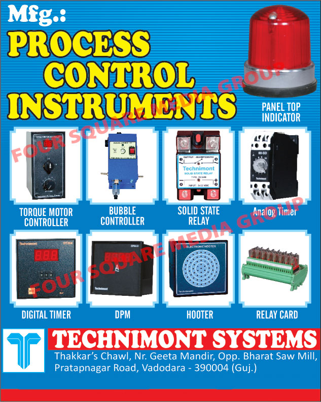 Process Control Instruments, Relay Card, DPM, SSR, Timer, Hooter, Torque Motor Controller, Panel Top Indicator, Digital Panel Meters, Solid State Relays
