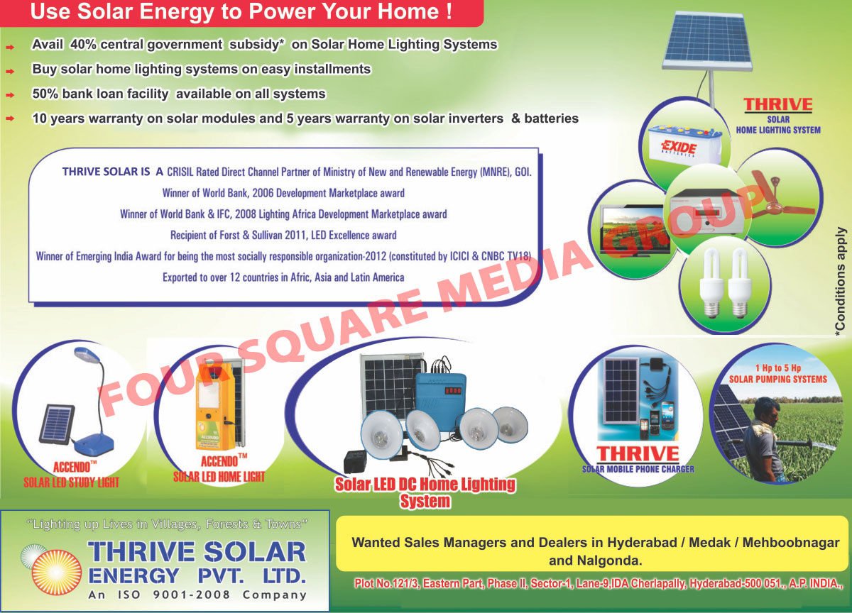 Solar Led DC Home Light Systems, Solar Home Light Systems, Solar Pumping Systems, Solar Mobile Phone Chargers, Solar Led Home Lights, Solar Led Study Lights,Solar Led Lights, Photovoltaic, Charging Systems