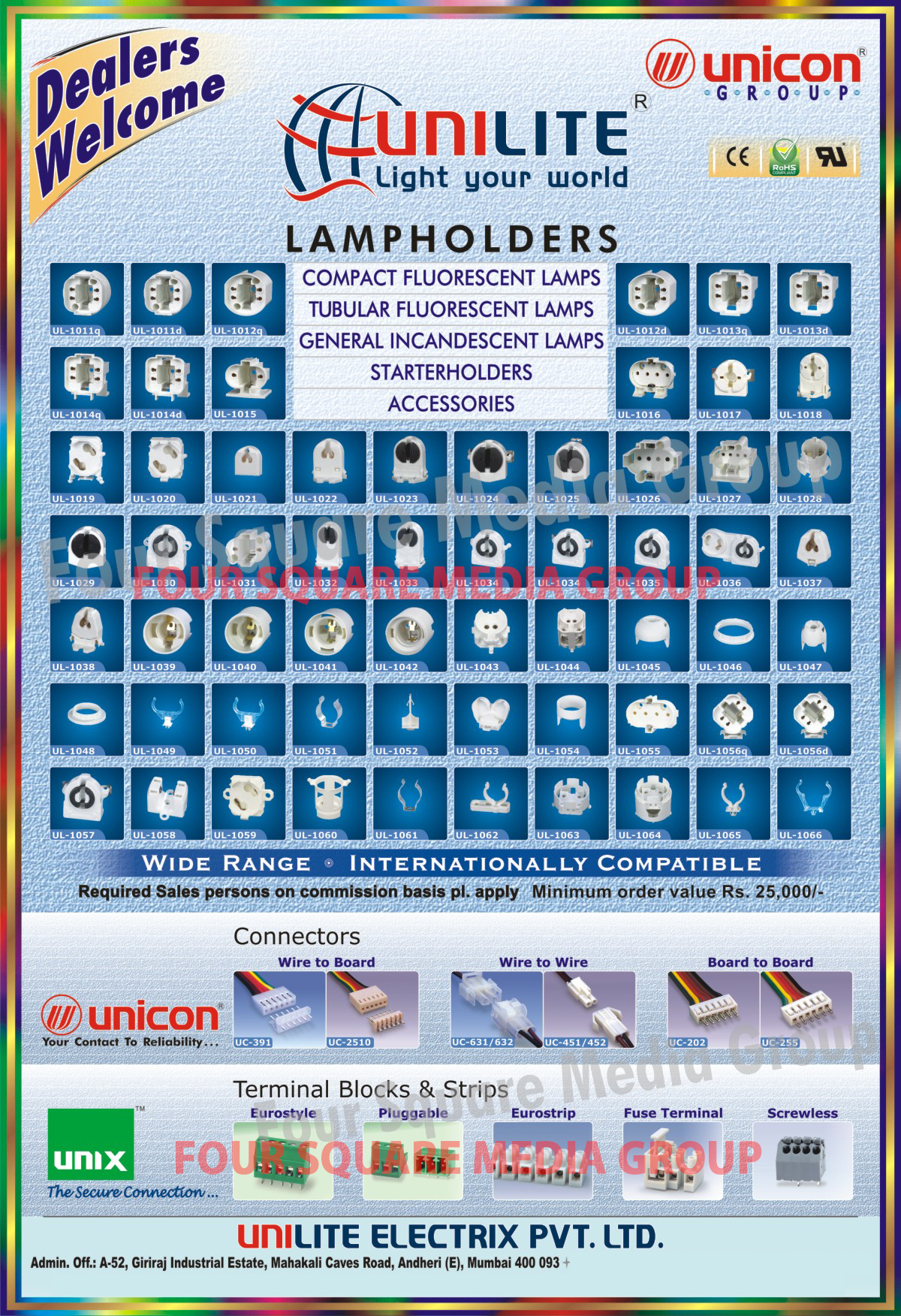 CFL Lamp Holders, Tubular Fluorescent Lamp Holders, General Incandescent Lamp Holders, Starter Holders, Connectors, Terminal Blocks, Terminal Strips, Fuse Terminals, Electrical Accessories