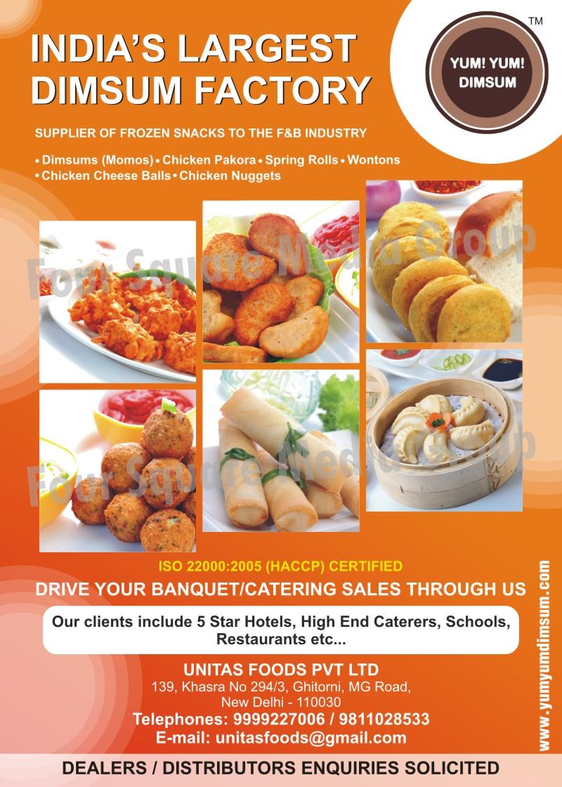 Frozen Snacks, Chicken Pakora, Frozen Snacks, Spring Rolls, Momos, Dimsums, Chicken Cheese Balls, Chicken Nuggets, Wontons,Chicken Lollipops