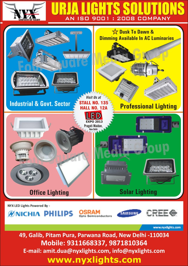 Solar Lights, Office Lights, Professional Lights, Industrial Lights, Government Sector Lights, Led Products, Lights, Luminaries