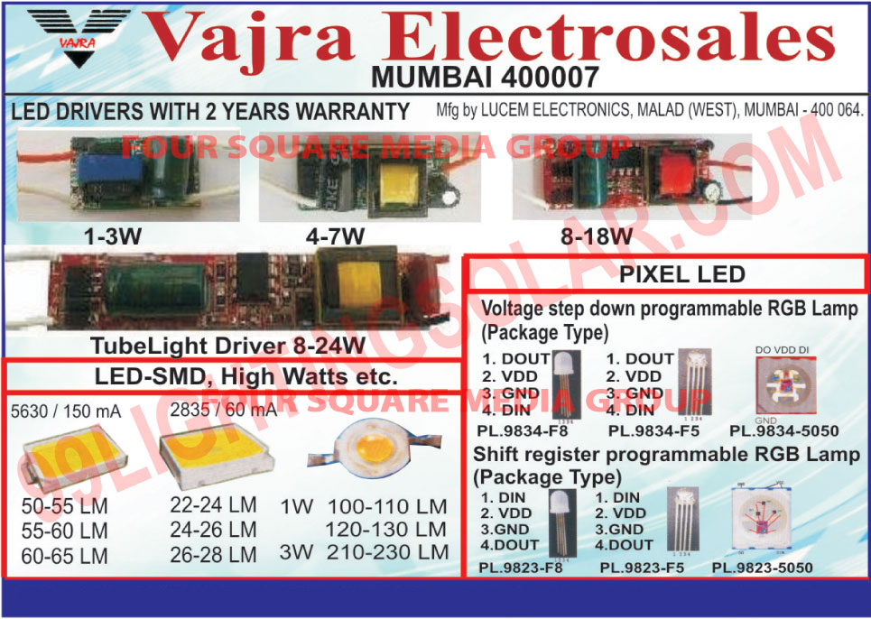 Led Drivers, Tube Light Drivers, Led Smd, Pixel Led, Led Pixel, Shift Register Programmable RGB Lamps, Voltage Step Down Programmable RGB Lamps,LED Displays, Lights Drivers, Led Lights, Capacitor, Electronic Component, FFC Cable, Electric Product