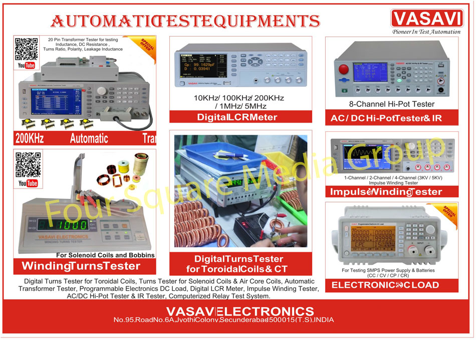 Automatic Transformer Testers, Digital Turns Tester For Toroidal Coils, Winding Turns Testers, Automatic Transformer Testers, AC High Pot Testers, DC High Pot Testers, Impulse Winding Testers, LCR Meters, Turn Tester For Solenoid Coils, Turn Tester For Air Core Coils, Programmable Electronics DC Load, Computerized Relay Test Systems, IR Testers, Test Equipment For Coils, Test Equipment For Transformers, Test Equipment For AC DC Power Supply, Test Equipment For Electronic Components, Test Equipment For Electronic Devices, Automatic Test Equipments, Coil Test Equipments, Transformer Test Equipments, Relay Test Equipments, Electronic Component Test Equipments, Electronic Device Test Equipments, LCRZ Meters, Led Electronic DC Load, Handheld LCR, Digital LCR Meters, Electronic DC Load For Led Drivers, Electronic DC Load For SMPS Power Supplies