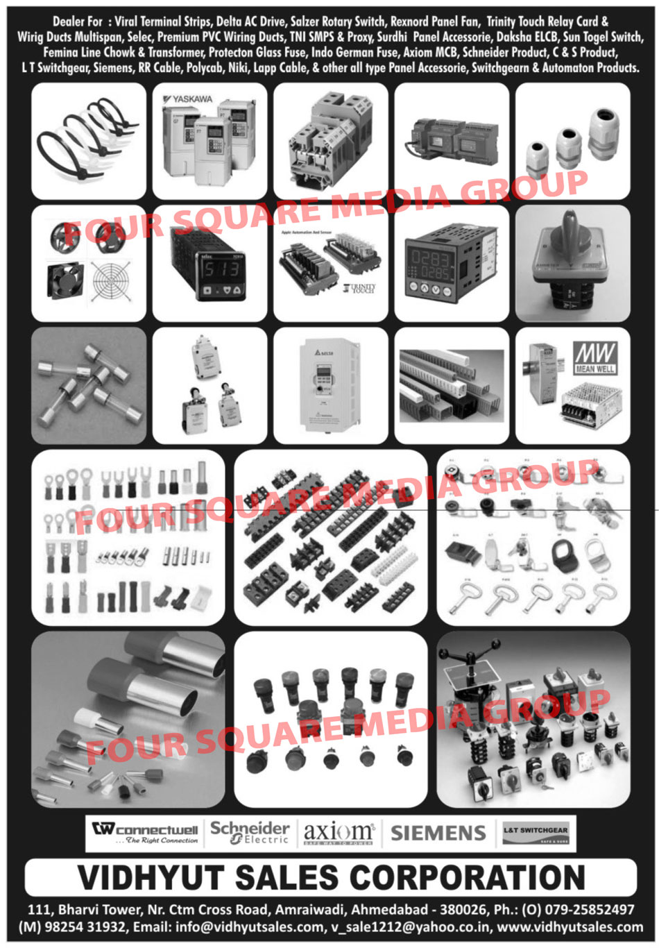 Terminal Strips, AC Drives, Rotary Switches, Panel Fans, Touch Relay Card, Wiring Duct Multispan, PVC Wiring Ducts, Panel Accessories, ELCB, Togel Switches, Line Chowk, Transformers, Glass Fuse, Fuse, MCB, Switchgear, Cable, Panel Accessories, Automation Products