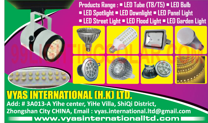 Led Lights, Led Tube Lights, Led Bulbs, Led Spot Lights, Led Downlights, Led Panel Lights, Led Street Lights, Led Flood Lights, Led Garden Lights