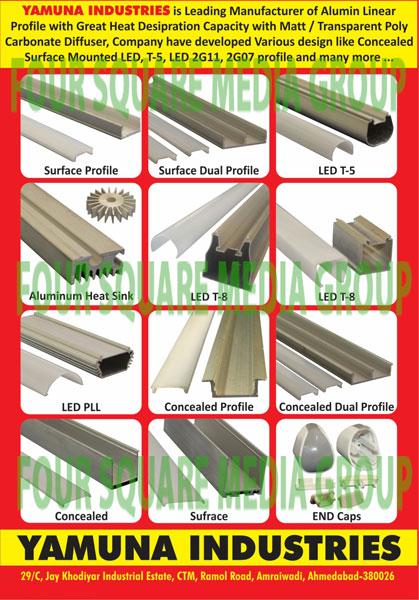 Aluminium Linear Profile, Surface Profile, Surface Dual Profile, Led T5 Profile, Aluminium Heat Sinks, Led T8 Profile, Led PLL, Concealed Profile, Concealed Dual Profile, End Cap